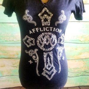 Affliction Tops - Affliction bling studded big cross tee shirt